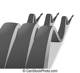 Three wavy gray arrow on a white background