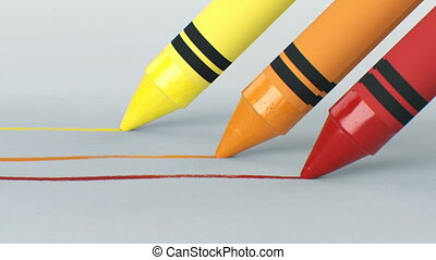 Three Wax Crayons Drawing Lines on Clear Paper is Close-up....