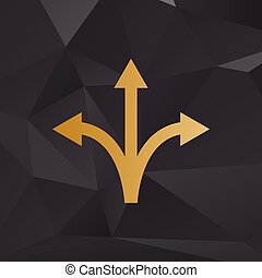 Three-way direction arrow sign. Golden style on background with polygons.