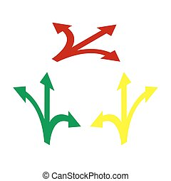 Three-way direction arrow sign. Isometric style of red, green and yellow icon.
