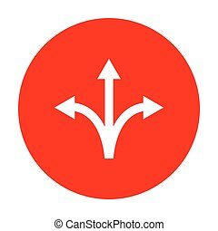 Three-way direction arrow sign. White icon on red circle.