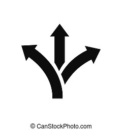 Three way direction arrow vector icon in modern design style for web site and mobile app
