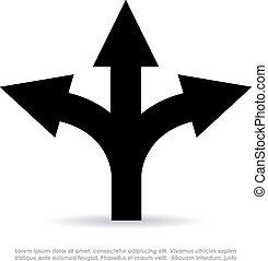 Three-way direction sign