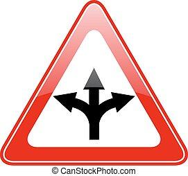 Three way fork road sign