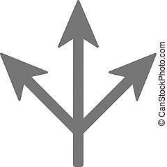 three way icon. Arrow separated on three - three way icon . ...