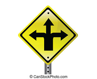 Three way Street sign - Three way isolated traffic sign. ...