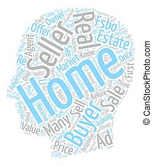 Three Ways FSBO Sellers Stumble text background wordcloud concept