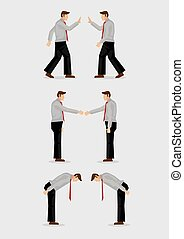 Three Ways of Greeting Gestures Vector Illustration - Three...
