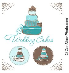 Three wedding cakes.