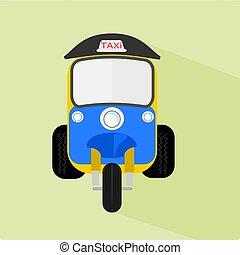 Three wheel taxi name Tuk Tuk racing in Thailand ,illustration