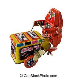 three wheeler robot toy - vintage metal robot toy on a three...