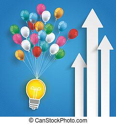 Three White Arrows Growth Bulb Balloons