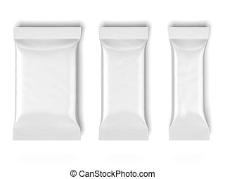 three White Blank Foil Packaging isolated on a white...