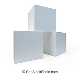 Three white boxes on white background. 3D rendering.