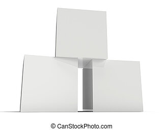 Three white boxes on white background. 3D rendering