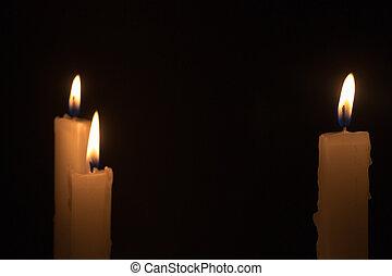 Three White Candles Burning at Night Time - Three white...