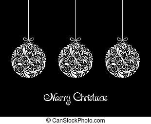 Three White Christmas balls on black background.