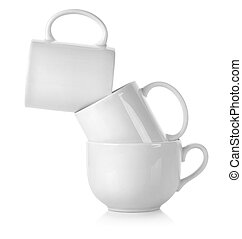 Three white cup isolated on a white background