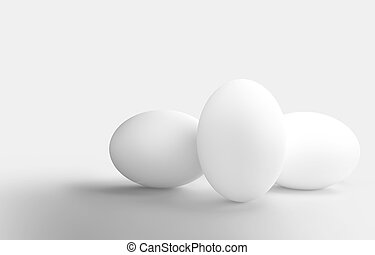 three white eggs 3d rendering