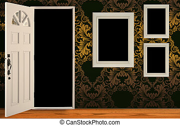 Three white frames on the wall.