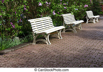 Three white garden benches on a paved pathway