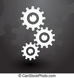 Three white gears