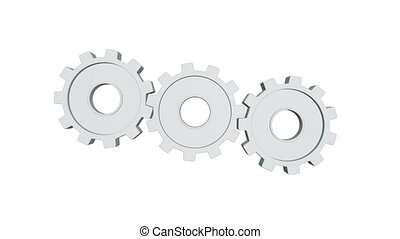 Three white gears spinning . White background. Alpha channel...