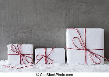 Three White Gifts, Cement, Copy Space