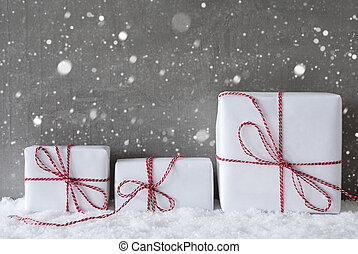 Three White Gifts With Snowflakes, Copy Space