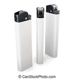 Three white lighters isolated on white background. 3d rendering