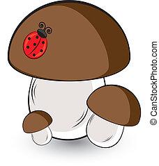 Three white mushroom