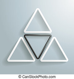 White and black triangles on the grey background.