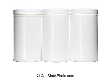 Three white plastic containers