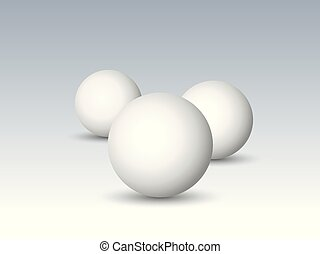 Three white spheres, balls or orbs. 3D vector objects with dropped shadow on gray background