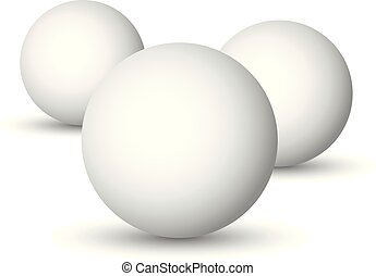 Three white spheres, balls or orbs. 3D vector objects with dropped shadow on white background