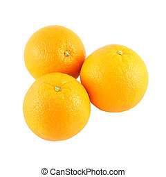 Three whole navel orange on white background.