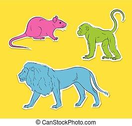 Three Wild Animals Stickers Vector