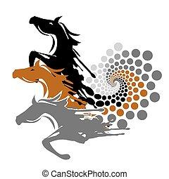 Three wild Horses in spirale