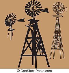 A clip art set of three different windmills