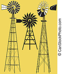 Three Windmills - Silhouettes of three different windmills