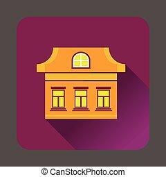 Three windows house icon, flat style