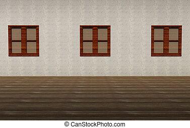 Three windows in grunge interior
