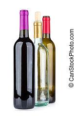 Three wine bottles isolated on white background
