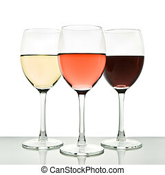three wine glasses - three glasses with white, rose and red ...