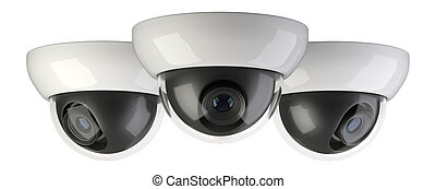 Three wireless security surveillance camera rotated to the side.