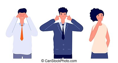 Three wise characters. Ignore or avoid, business people see no evil hear no evil and speak no evil. Emotional person utter vector characters. Metaphor people three, moral proverb wise illustration