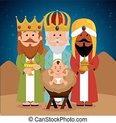three wise kings baby jesus manger