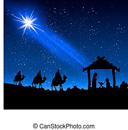 three wise men and Jesus - Three wise men and Jesus, vector...