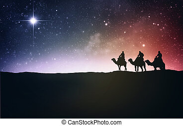 Three wise men following the star to Jesus.