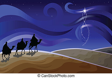 Religious Christmas card with the Three Magi and the newborn king's shiny star. Vector illustration saved as EPS AI 8, simple gradients, no effects, easy printing.